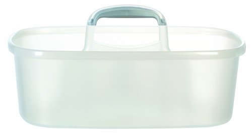Casabella Cleaning Handle Bucket, Clear/Silver Rectangular Storage Caddy, Graphite, 4 gallons, Translucent