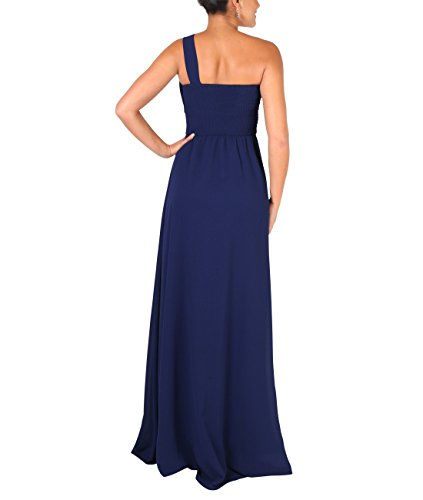 KRISP Vestido Mujer Fiesta Largo Talla Grande Hombro Descubierto Invitada Boda Dama, Azul Marino (4814), 42 EU (14 UK), 4814-NVY-14