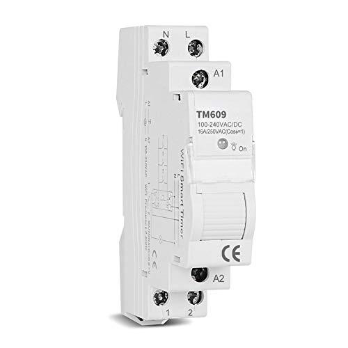 Smart Timer Switch Wireless WiFi Control Remoto App Memory Rail DIN 16A Diario Semanal TM609 para Hogar Industrial