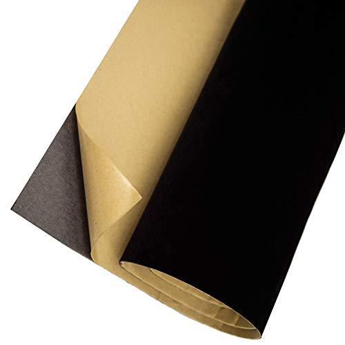 Self Adhesive Velvet Flock Contact Paper Roll Shelf Liner for Jewelry Drawer Craft Fabric 17.7' x 78.7', Soft Velvet Liner for Drawer DIY (Black)