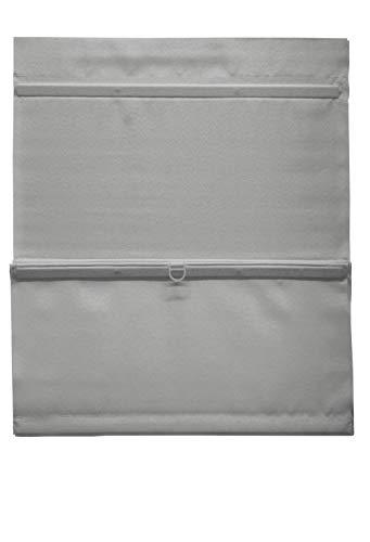 GARDINIA EASYFIX Raffrollo magnetisch inklusive Klettband, Raffgardine, Blickdicht, Alle Montage-Teile inklusive, Grau, 70 x 140 cm (BxH)