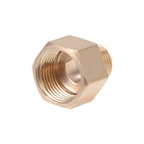 DealMux Accesorio de tubería roscada de latón G1 / 4 Macho X 3 / 8PT Adaptador de buje hexagonal hembra 20 mm de longitud
