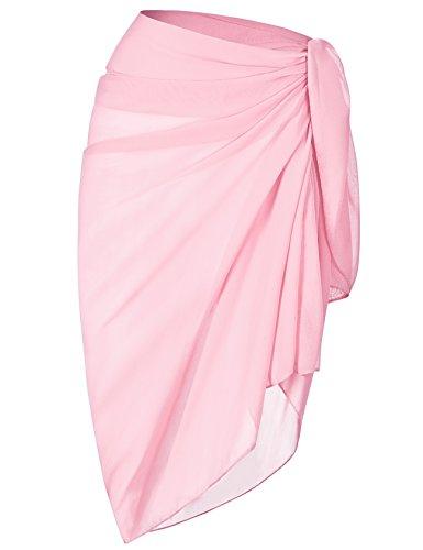 ChinFun Women's Beach Cover Up Long Sarong Dress Pareo Swim Slit Skirts Bathing Suit Bikini Cover Wrap Chiffon Shawl Scarf Solid Light Pink