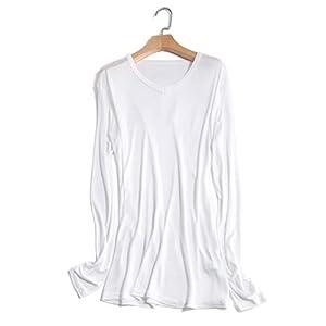 メンズ シルク VネックT 九分袖 インナーシャツ M L XL silk シルク100% メンズ 絹 下着 保温 敏感肌 低刺激 通気 抗菌 快適 (L, ホワイト)