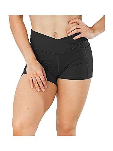 N /C Pantalones cortos de yoga para mujer, cintura alta, control de barriga, pantalones cortos para gimnasio, entrenamiento, deportes, correr, ciclismo, pantalones calientes
