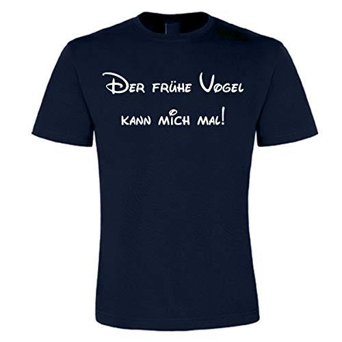 Myfashionist T-Shirts Bedruckt - Der frühe Vogel kann Mich mal - Damen Herren T-Shirt Rundhals 100{5402379667856d38942d10b936764e1e93442a8623ab5c591358c5e95af32a6b} Baumwolle Print-Shirt (XXL, Herren ➤ Dunkelblau)