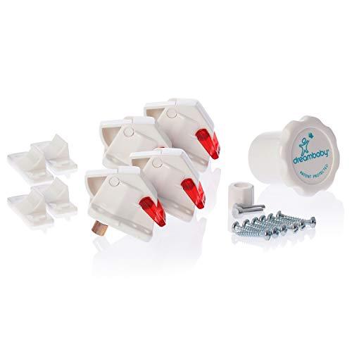 Dreambaby G150 Unsichtbares Magnetschloss Schrank-Kindersicherung Set 4 Schlösser 1 Schlüssel