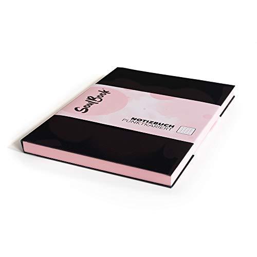 SOULBOOK (700012) Notizbuch Classic A5-Format - Softcover zartrosa – dotted – mit 2 Einstecktaschen und Lesezeichen