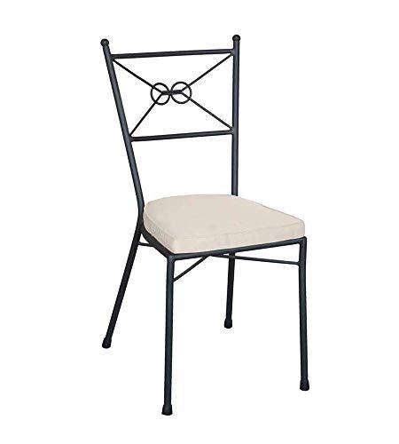 Sedia in ferro con cuscino ecrù