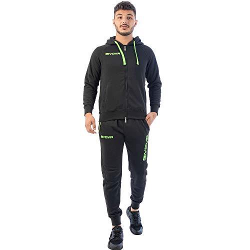 Perseo Sport Tuta Uomo Cotone Felpato Cappuccio Givova (M, Nero/Verde Fluo)