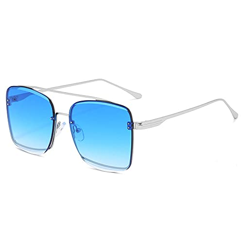 HAOMAO Marcos de metal de envoltura completa Punk Square Mirror Gradient Gafas de sol para mujeres y hombres Diseñador de la marca Uv400 Gafas de conducción 4