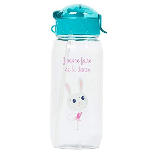 Draeger - Botella para niños con pajita y bailarina pequeña, reutilizable, sin BPA, apta para lavavajillas