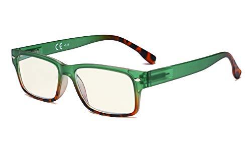 Eyekepper Blaulicht Filter Brille Damen - UV420 Schutz Stylische Computer Lesebrille - Grün +3.00