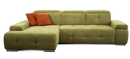 CAVADORE Ecksofa Mistrel mit Longchair XL links / Große Eck-Couch im modernen Design / Inkl. verstellbaren Kopfteilen / Wellenunterfederung / 273 x 77 x 173 / Kati gruen