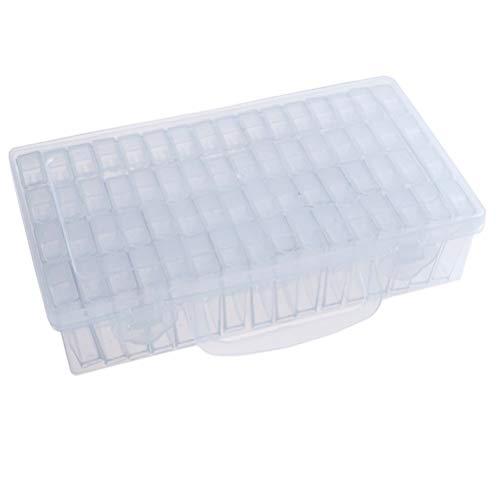 Supvox 64 rejillas Caja de joyería Organizador Contenedor de almacenamiento Plástico transparente con divisores removibles Diamantes Cuentas Pendientes Vitrina