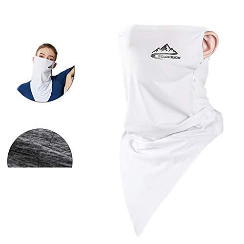 Bigood Unisexe Cagoule Protection Solaire Respirant Élastique Triangle Blanc