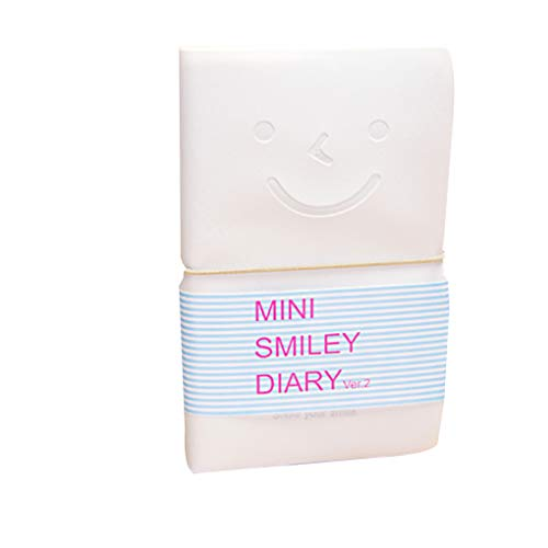 Yosiyo Adorable Sourire Cordes élastiques Couverture en Cuir coloré Face intérieure Page Mini Diary Notebooks Couleur aléatoire