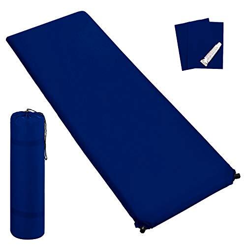 Outdoor Isomatte, selbstaufblasend, ca. 2 m Länge, inkl. Flick Set - selbstaufblasbare Luftmatratze geeignet zum Camping und fürs Zelt mit kleinem Packmaß (dunkelblau, 3 cm Polsterdicke)