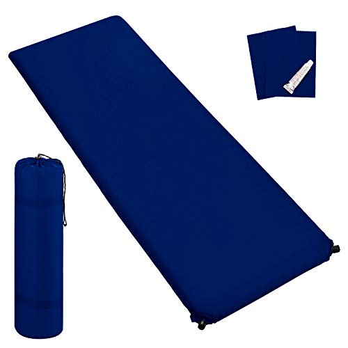 Outdoor Isomatte, selbstaufblasend, ca. 2 m Länge, inkl. Flick Set - selbstaufblasbare Luftmatratze geeignet zum Camping und fürs Zelt mit kleinem Packmaß (dunkelblau, 6 cm Polsterdicke)