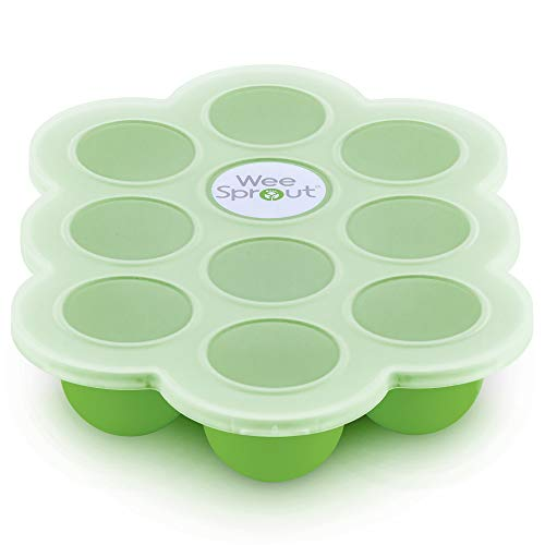 WEESPROUT Silicone Baby Food Freezer Tray with Clip-on Lid by WeeSprout - Perfect Storage Container for Homemade Baby Food, Vegetable & Fruit Purees and Breast Milk - BPA Free