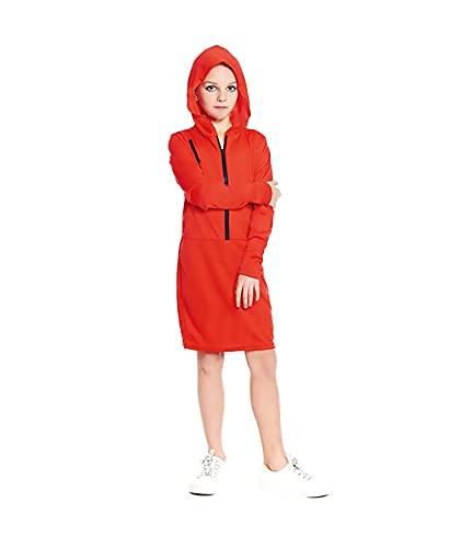 Hipex Collection Disfraz Atracadora Mono Rojo Para Nias, Disfraces Infantil para Cosplay, Halloween, Carnaval (7-9 aos)