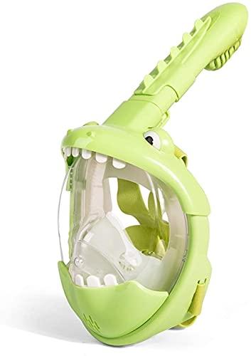 Mascara Buceo Máscaras de Buceo Niños Nadando Cara Completa Máscara de Snorkel Mascarilla Chicas Submarino Scuba Anti Fog Snorkeling Diving Mask Conjunto Equipo para Niño (Color : Green)