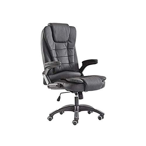 HMBB Sillas de escritorio, silla de oficina, ajustable, silla ejecutiva, de piel, giratoria, suave, acolchada, reclinable, para el hogar