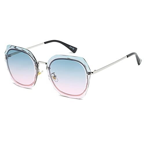 LQG Nuevas Gafas de Sol Mujeres Versión Coreana de la Marea Gafas de Sol Recortadas de Cristal enamoradas de la Marea,Rosado