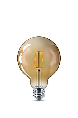 Philips LEDclassic 35 W, E27, blanco cálido (2500 Kelvin), 400 lúmenes, lámpara decorativa LED, cristal, 4 W, tono dorado