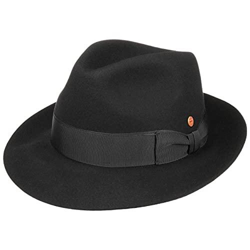 Mayser Chapeau Bogart City Fanal Femme/Homme - Made in The EU de Feutre Poil Fedora avec Doublure, Ruban Gros Grain Printemps-été - 58 cm Noir