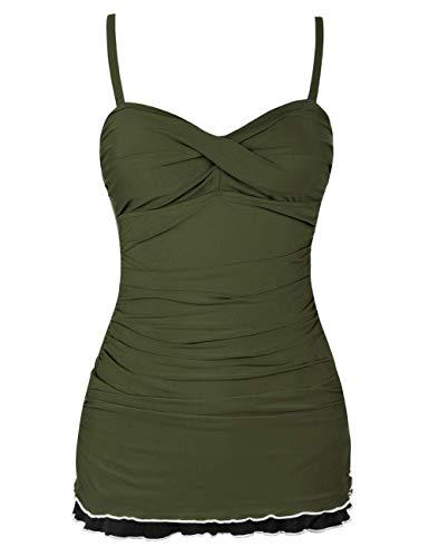 Hilor Women's One Piece Swimsuits Tummy Control Swimwear Ruffle Swimdress with Panty Dark Army Green 14