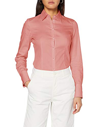 HUGO Damen Bluse The Fitted Shirt, Dark Pink656, 36