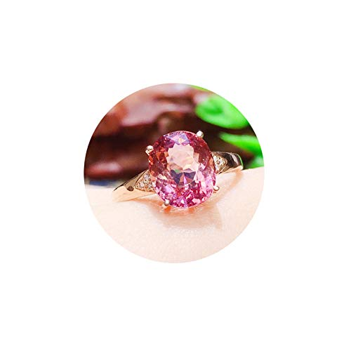 AueDsa Anillo Oro Rosa Anillo de Oro 18 Kilates Mujer Oro Rosa Oval Turmalina Rosa Anillo Talla 18,5