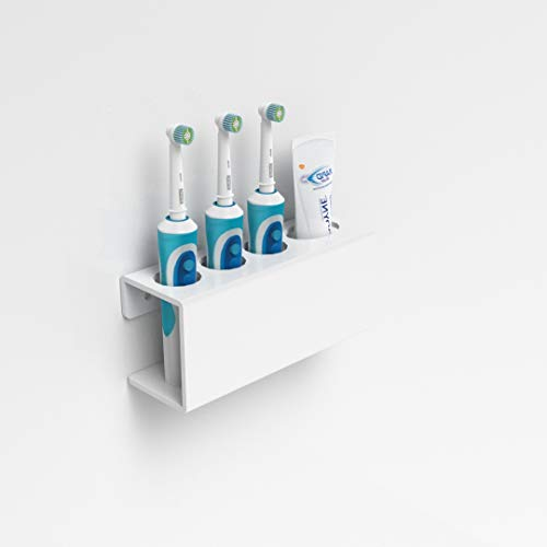 Wandhalterung für elektrische Zahnbürste & Zahnpasta, Weiß, acryl, weiß, 3 Toothbrush & Toothpaste