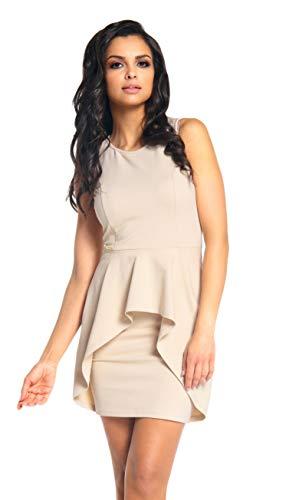 Lemoniade Elegantes kurzes Kleid mit romantischen Rüschen und in vielen Farben Made in EU, Modell 2 Beige, Gr. S (34/36)
