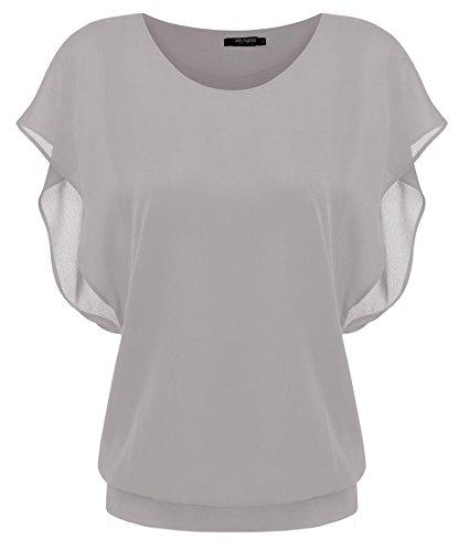 Zeagoo Damen Sommer Casual Loose Fit Kurzarm Fledermaus Batwing T-Shirt Shirt Chiffon Top Bluse, EU 40(Herstellergröße:L), Grau