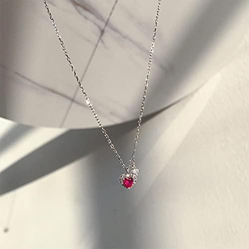 SONGK Collares de corazón de Amor de circonita roja chapada en Plata para Mujer, joyería de Boda, Collares Largos, joyería de declaración
