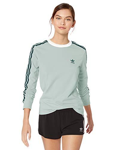 adidas Originals Women's 3-Stripes Long-Sleeve Tee, vapour green, XX-Small