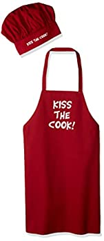 Valentine Ideas Kiss The Cook Red Apron And Chef Hat Set