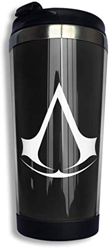 Qurbet Kaffeebecher Thermobecher mit Schraubdeckel, Assassin Creed Video Game Coffee Cup Stainless Steel Water Bottle Cup Travel Mug Coffee Tumbler with Spill Proof Lid