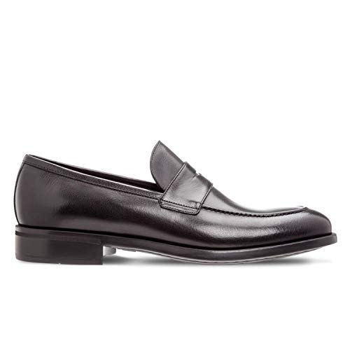 MORESCHI - Black Buffalo Leather MORESCHI Sligo Loafer Shoes - SLIGOBLACK - 8.5