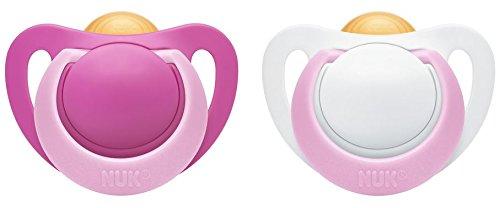 NUK 10171100 Genius Latex-Schnuller, kiefergerechte Form, 0-6 Monate, 2 Stück, Girl, rosa/ weiß
