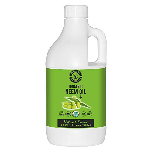 Organic Neem Oil (33.81 fl oz) USDA Certified, 100% Pure & Natural, Virgin Cold Pressed Neem oil – Good for dry skin to moisturize, Dandruff free hair,Ideal for Indoor&Outdoor Plant for Green Garden