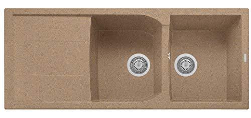 Plados - Fregadero línea Corax 116.20 con dos senos y escurridor de platos.