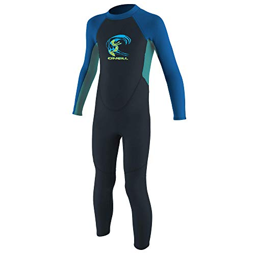 O'Neill Baby Toddler Reactor II 2 mm Back Zip Full Wetsuit neopreen pak, Slate/Light Aqua/Ocean, 2