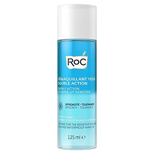 RoC - Desmaquillador de Ojos Doble Acción - Combinación de Agua y Aceite - Elimina el Maquillaje Impermeable - Minimiza los Riesgos de Alergia - 125 ml