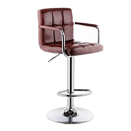 Zhou-WD Hoge krukken aan de balie, met armleuningen in hoogte verstelbare fauteuil Indoor Office Hotel Barkruk Keuken Lift Dining Chair ontbijt stoel (Color : A, Size : 63-83CM)