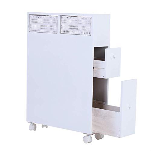 N /A Mueble de baño blanco con 4 cajones de madera con carrito de almacenamiento extraíble con ruedas laterales, color blanco, 50 x 16 x 72,5 cm