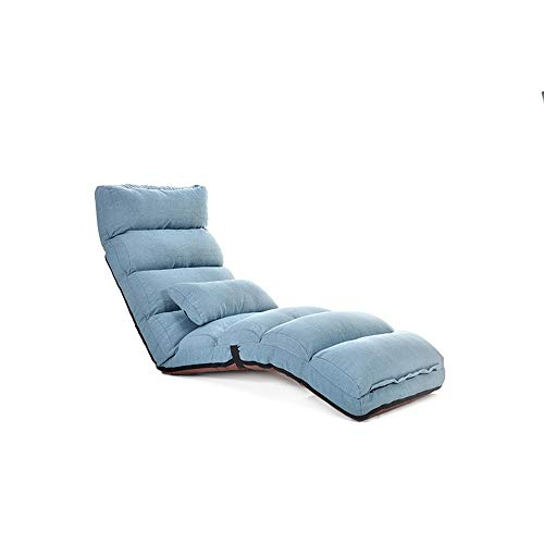 Floor Sofa Chair Reclining Large Size Floor Chair Adjustable Recliner Chairs for Adults Comfortable Memory Foam and Back Support Lounger Chair Memory Foam ( Color : Lake blue , Size : 175x53x18cm )