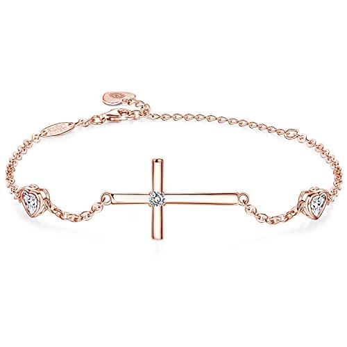 Billie Bijoux - Pulseras de cruz para mujer de plata de ley 925 con circonitas cúbicas y diamantes de imitación,